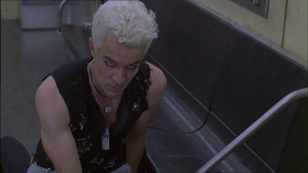 Spike on the floor of a subway car.