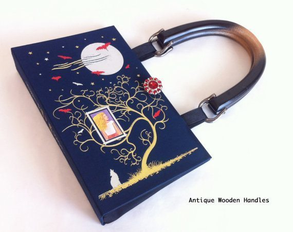 Purse made from recycled book.