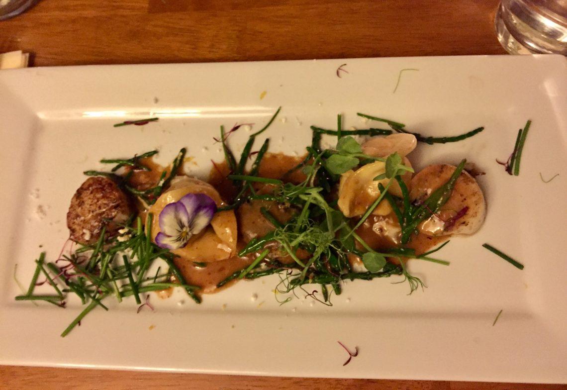 Crab tortellini with seared scallops