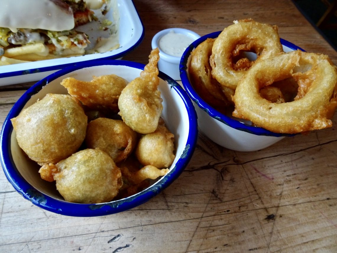 Fried Jalepenos and Fried Onion Rings