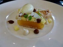 Caramelised pineapple, coconut macaron, lime leaf sorbet