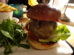 Homemade Beef Burger, Char Grilled Bacon & Onion Marmalade, Montery Jack Cheese, Brioche Bun & French Fries