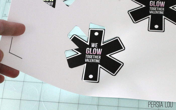 peel up glow stick valentines off of silhouette cutting mat