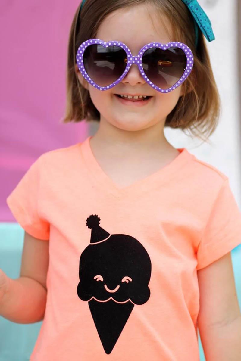 DIY happy ice cream cone shirt with free cut file