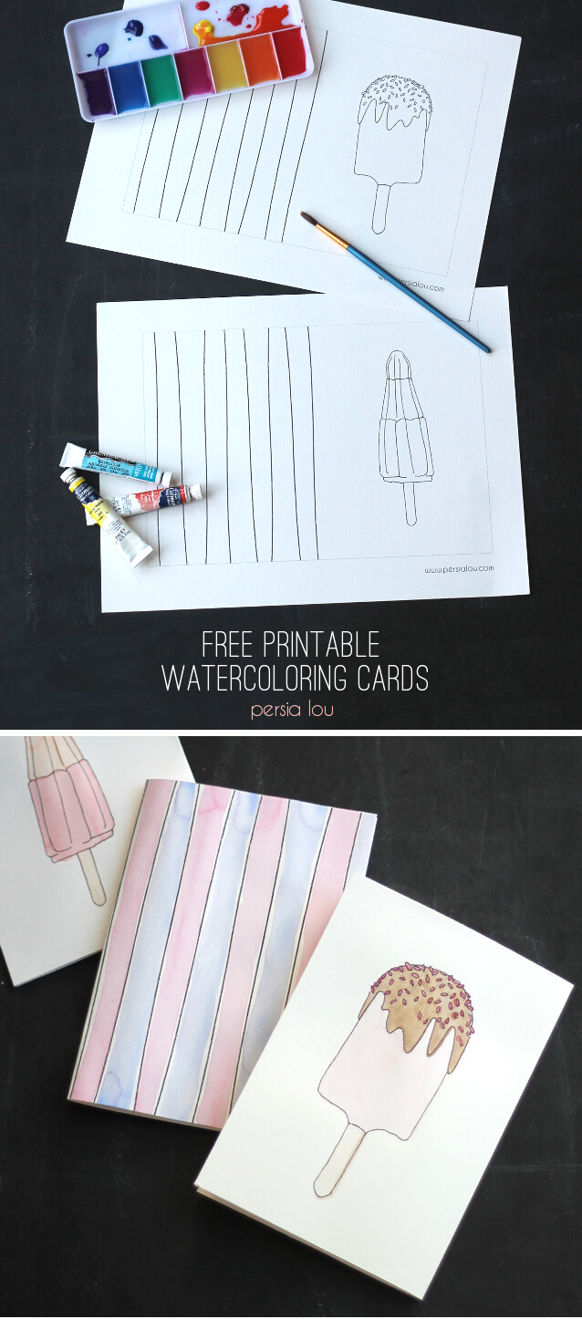 Print these cards out on watercolor paper and paint them in! Cute popsicles perfect for summer. Click through to get the printable.