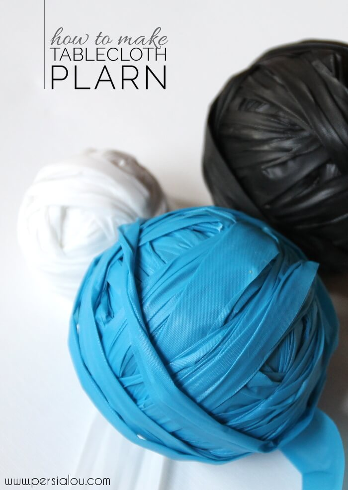 How to make Table Cloth Plarn - turn old plastic tablecloths into new baskets, bags, and mats