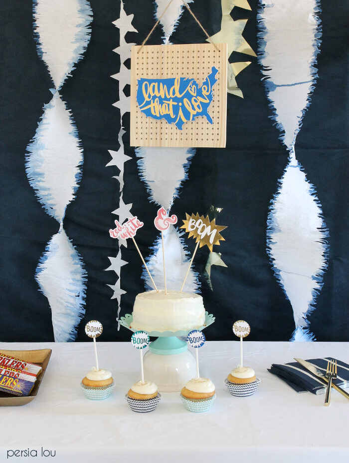 Blue, White, and Gold decorations for the fourth of july