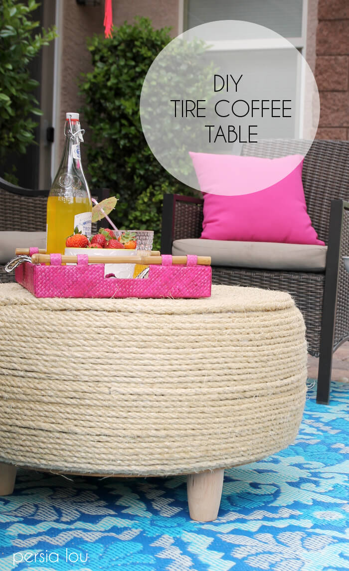Turn an old tire into a coffee table for your patio! DIY Tire Coffee Table