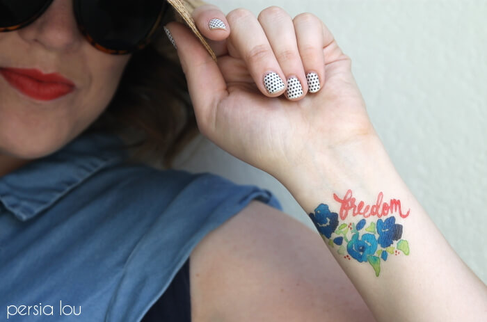 DIY Watercolor Fourth of July Tattoos