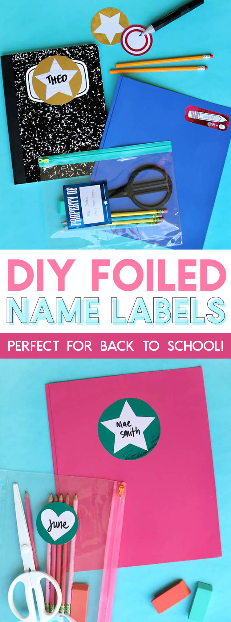 diy foiled name labels for labeling school supplies