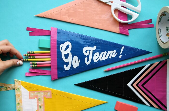 make your own pennant shaped pencil pouch using just duck tape!