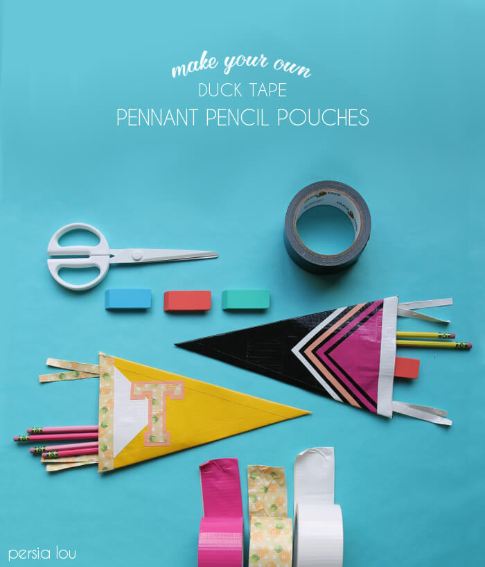 make your own vintage pennant style pencil pouches - all you need is duck tape! click through for instructions