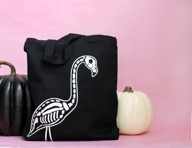 flamingo skeleton tote