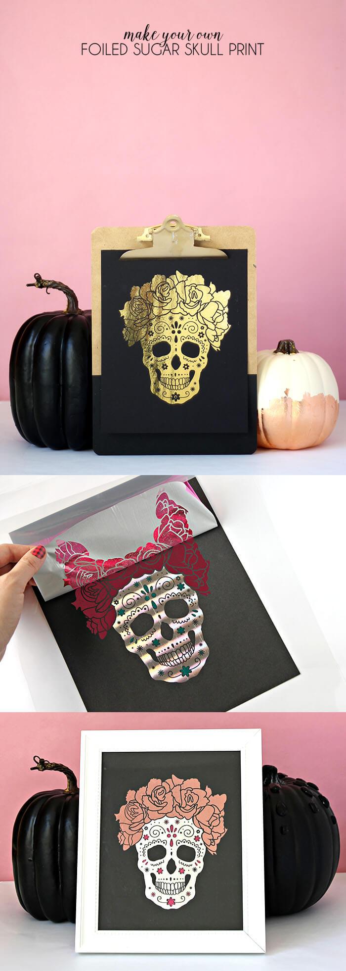 make your own foiled sugar skull prints - free download