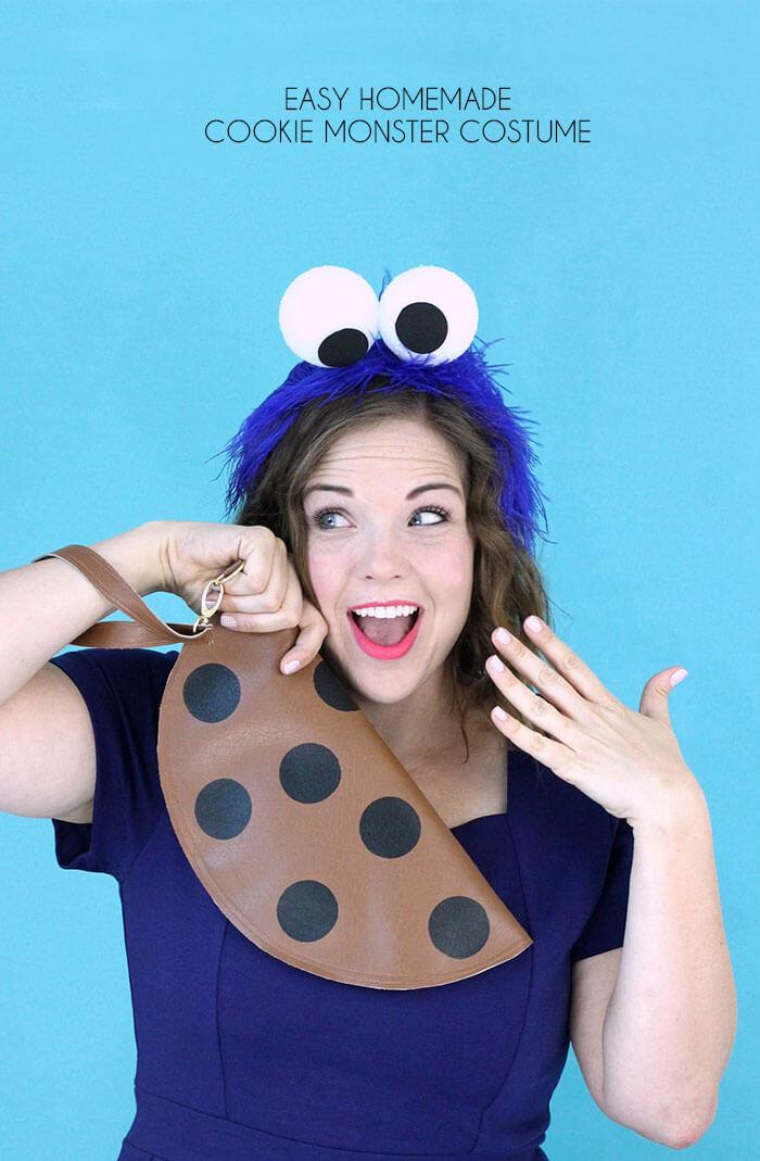 Cute DIY Cookie Monster Adult Costume. Woman in blue DIY Cookie Monster costume.