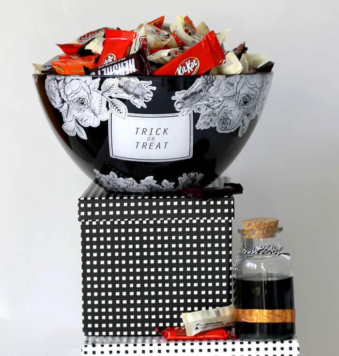 make your own creepy & pretty Halloween treat bowl