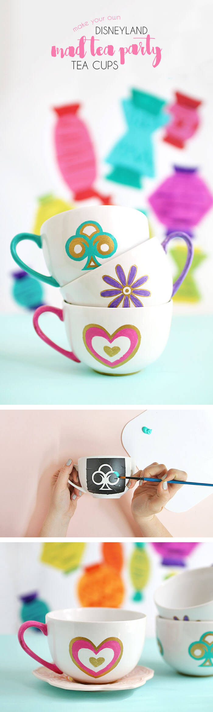 Paint your own DIY Disneyland Tea Cups inspired by the Mad Tea Party ride at Disneyland.