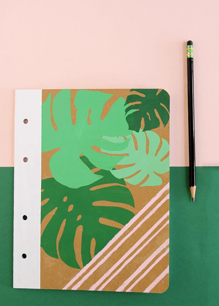 palm leaf notebook DIY