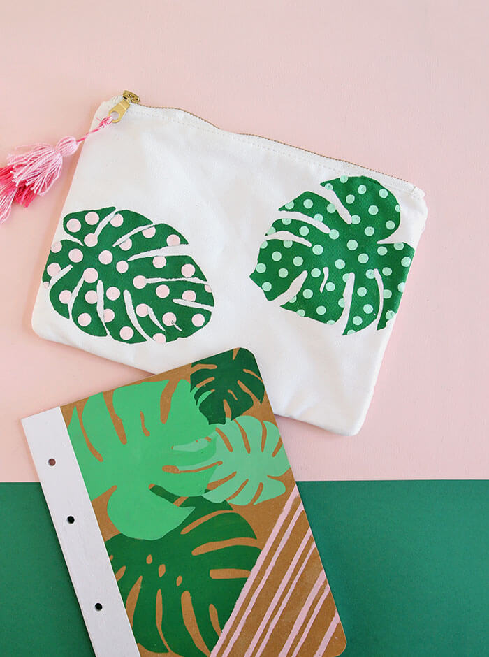 make your own adorable palm leaf school supplies with this free template - adorable pencil pouch and notebook