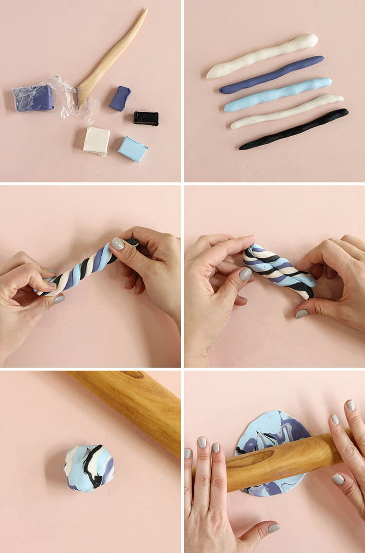 diy necklace - step one: marble clay