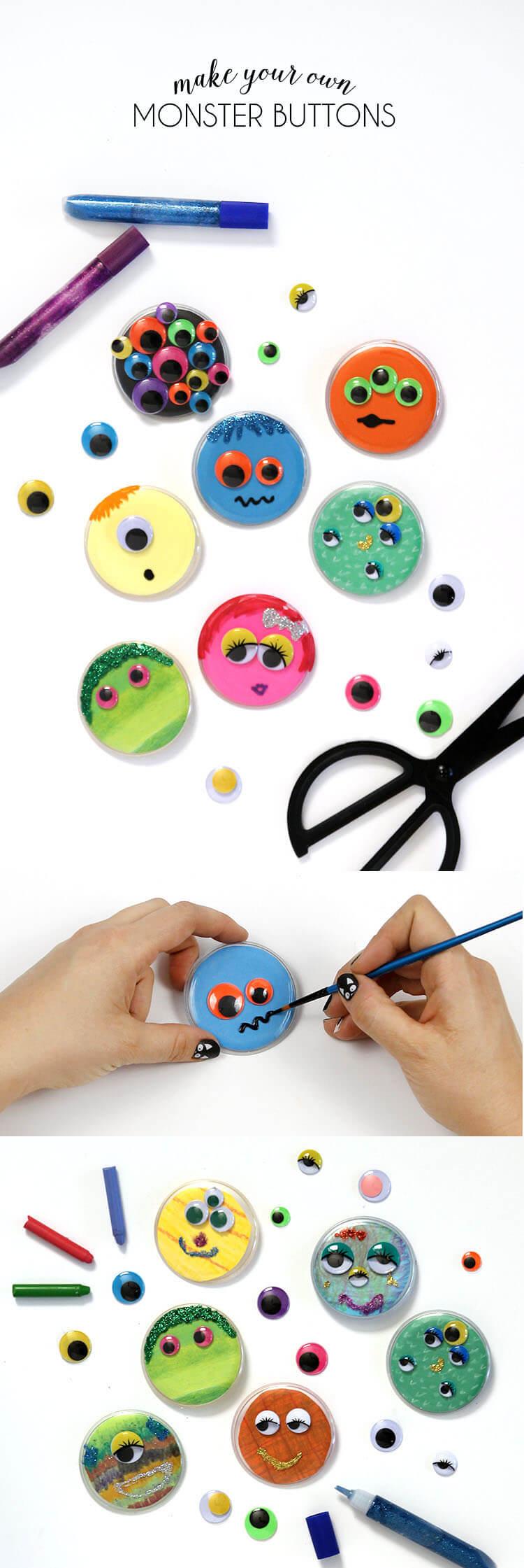 Monster Buttons - such a cute kids Halloween craft idea