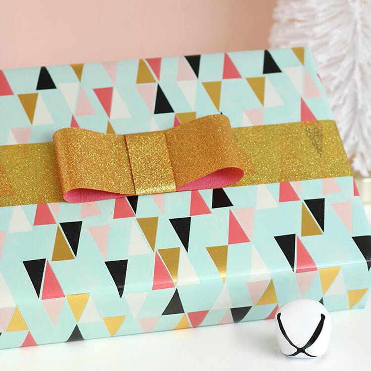 DIY Tape Bows - Glittery Gift Wrap Idea