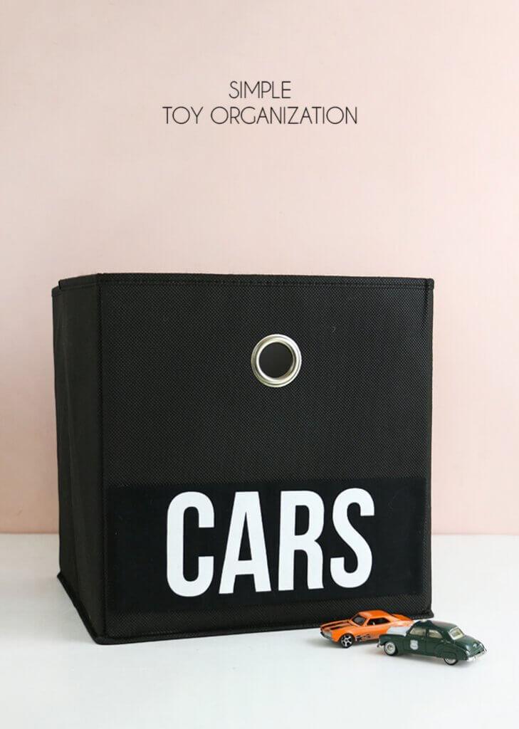 simple toy organization - make toy bin labels with heat transfer vinyl