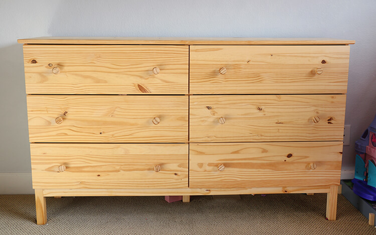 DIY scalloped dresser before