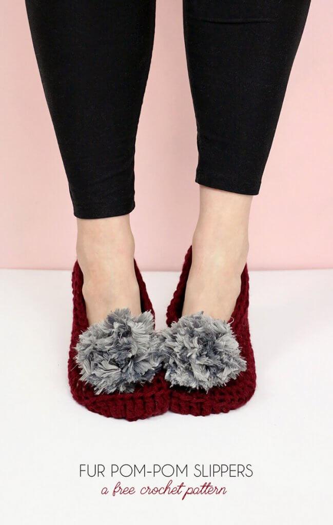 how to crochet slippers - Fur Pom-Pom Slippers - Free Crochet Pattern