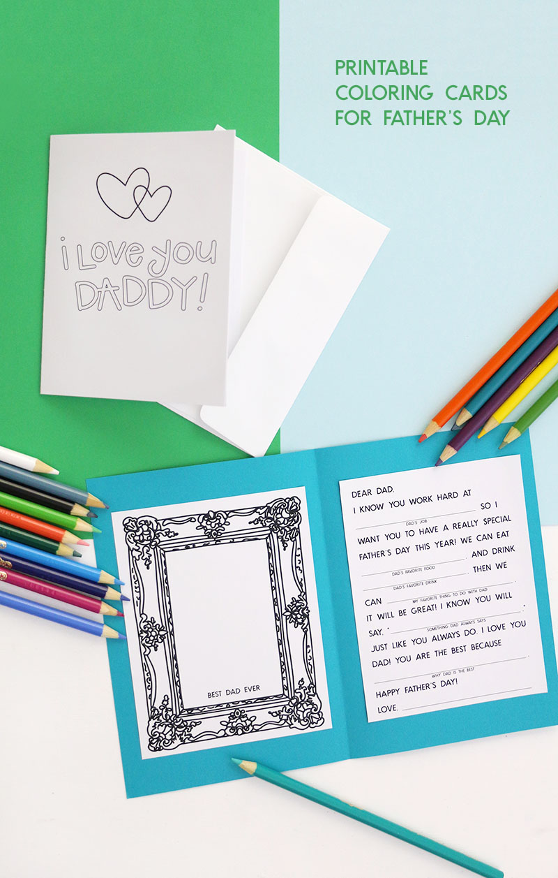 printable father's day card - let the kids fill them out and color them in for a cute little gift for dad this year