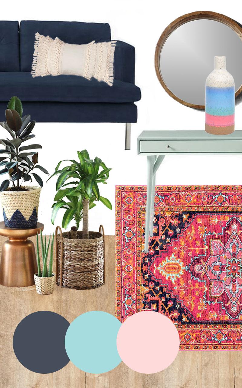 colorful modern bohemian mood board
