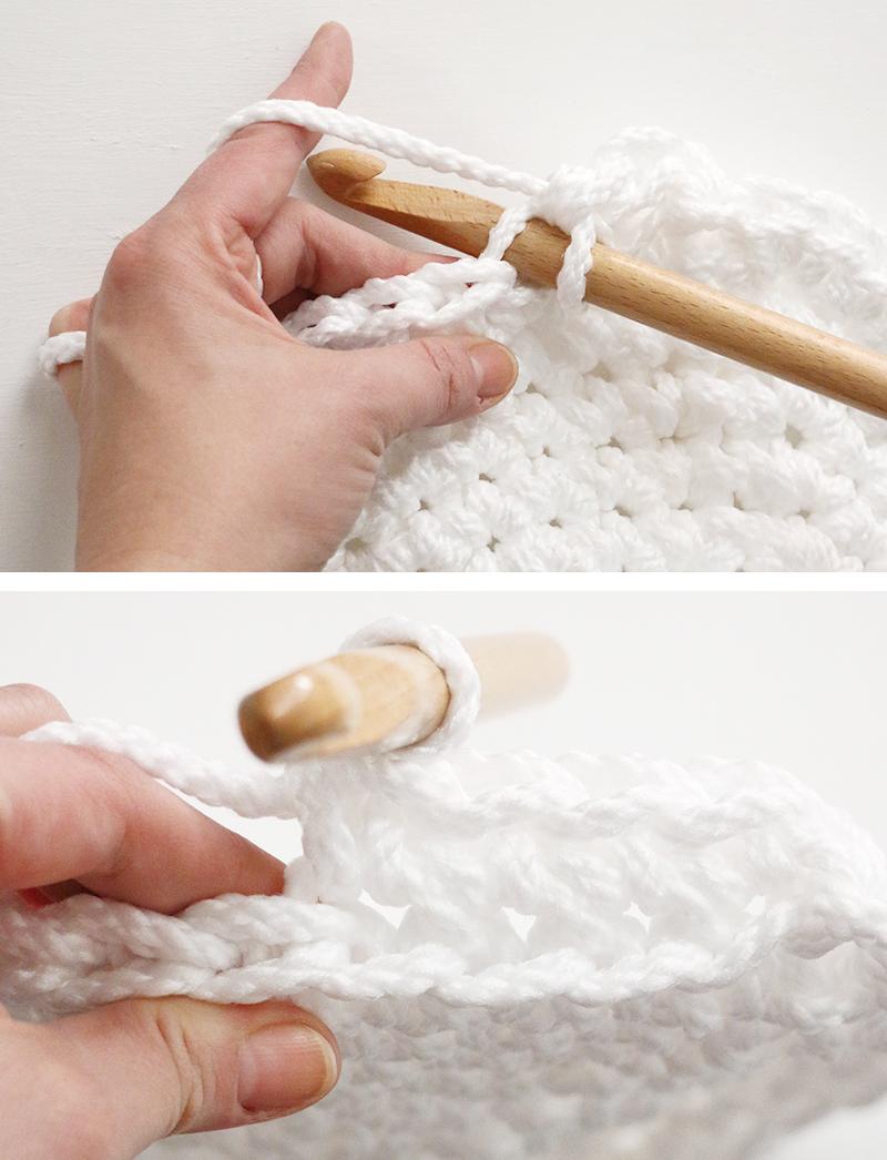 back loops only - large crochet basket