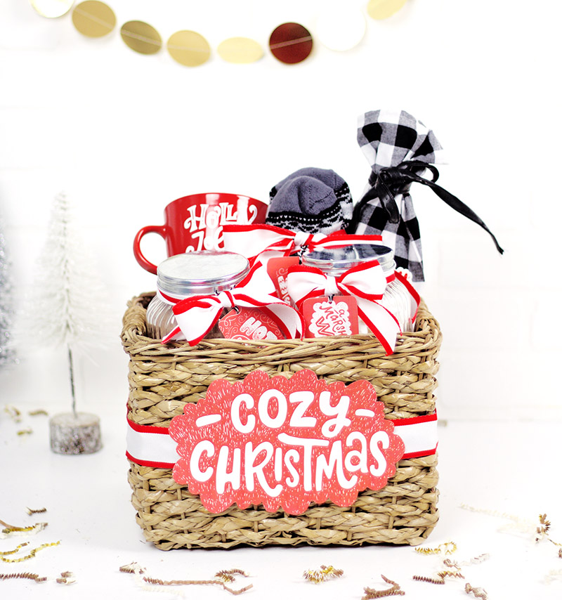 DIY Cozy Christmas gift basket idea