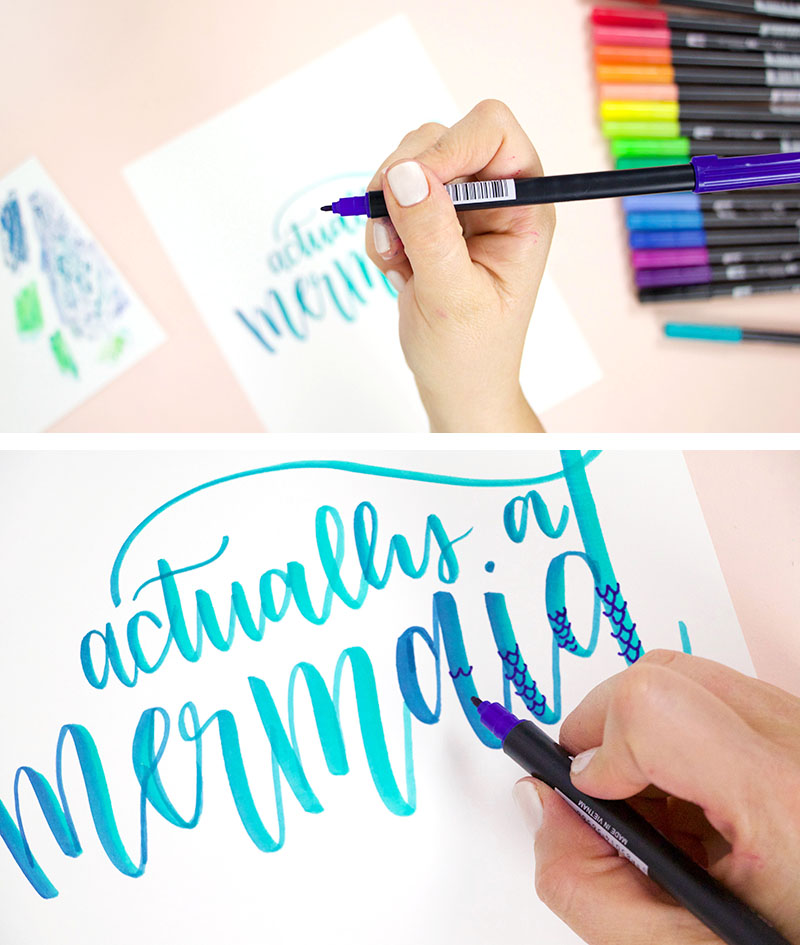 add details to brush lettering with tombow dual brush pen