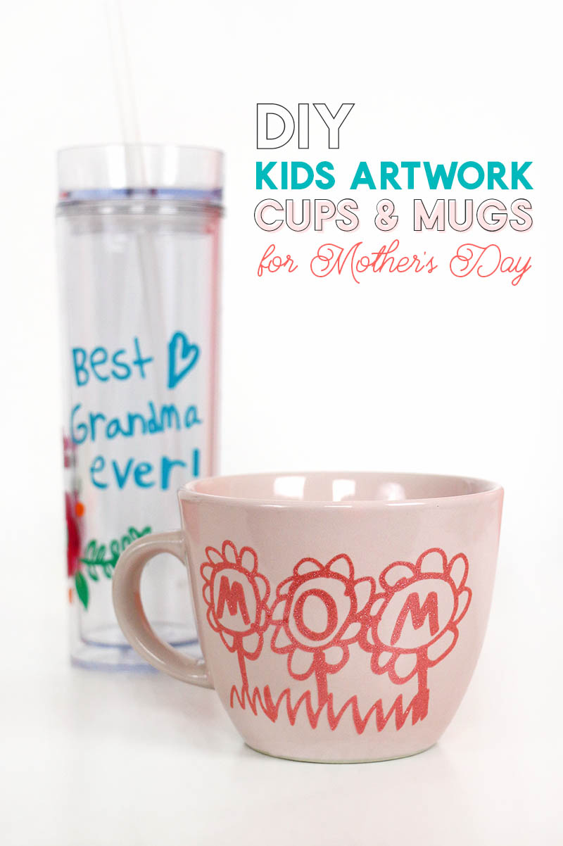 diy mother's day mug using your child's artwork or handwriting