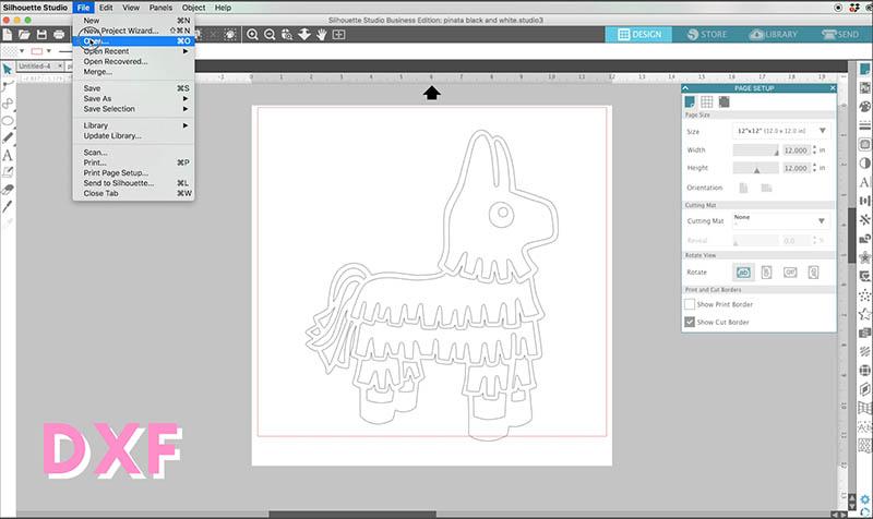 open dxf file in silhouette studio