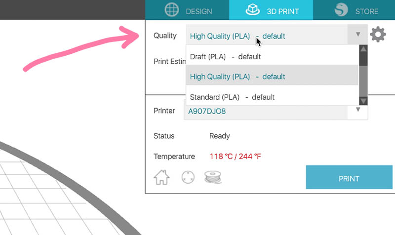 selecting print quality silhouette alta 3D