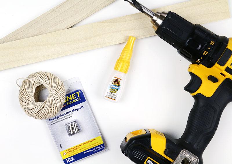 supplies for DIY magnetic print hanger
