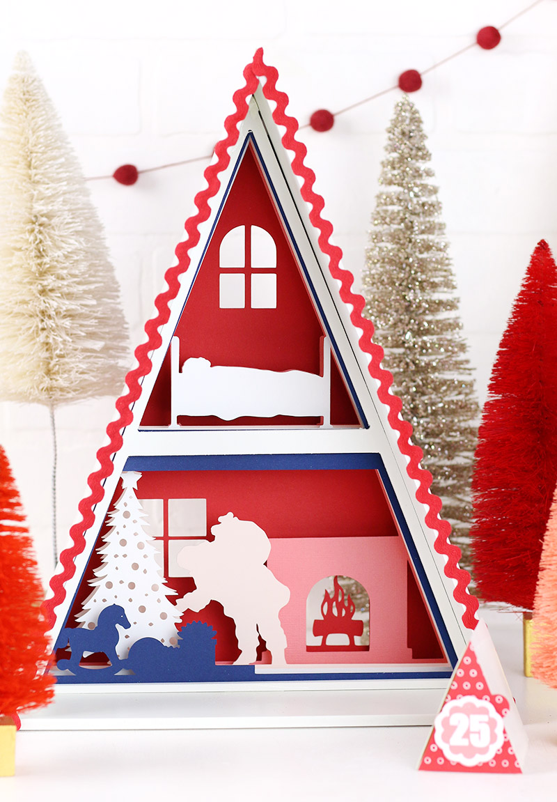 christmas santa scene in silhouette advent calendar