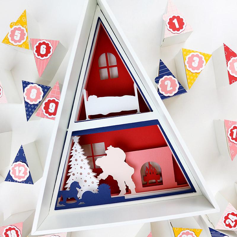 finished santa scene in diy advent calendar