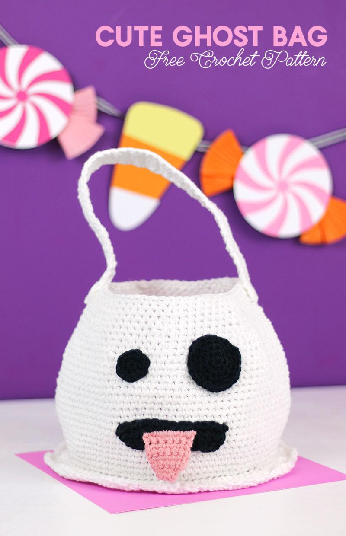 halloween crochet emoji ghost bag - free crochet pattern