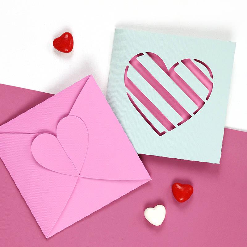 finished heart tab envelopes