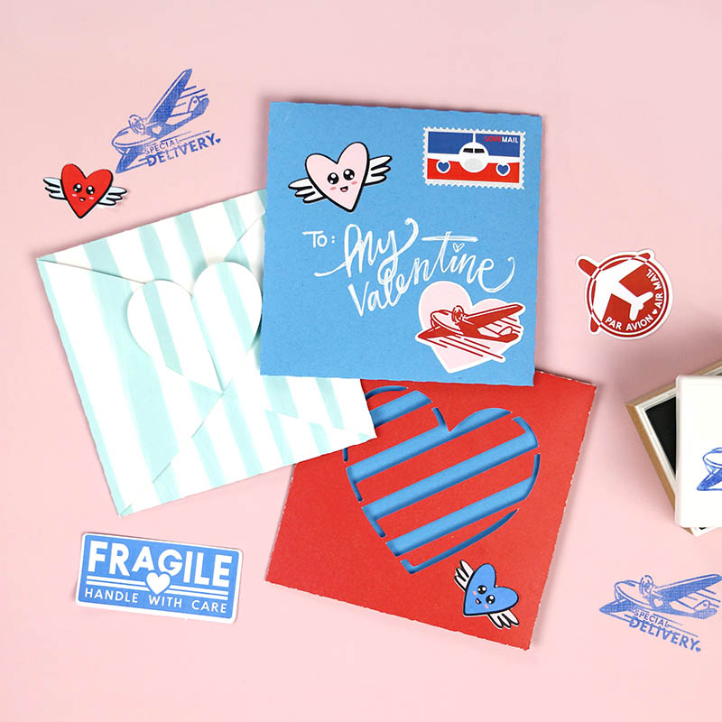 heart envelope cut files with stickers and stampes