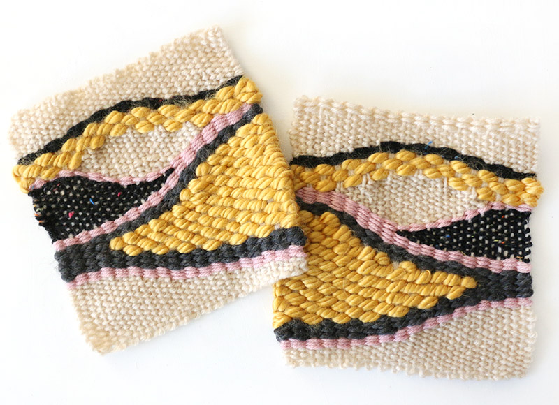 finished diy woven bag pieces