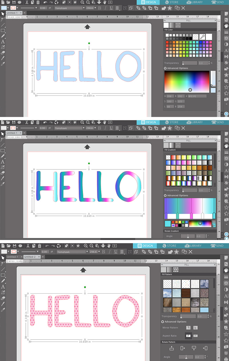 how to change the color of your font and add fills to text in silhouette studio