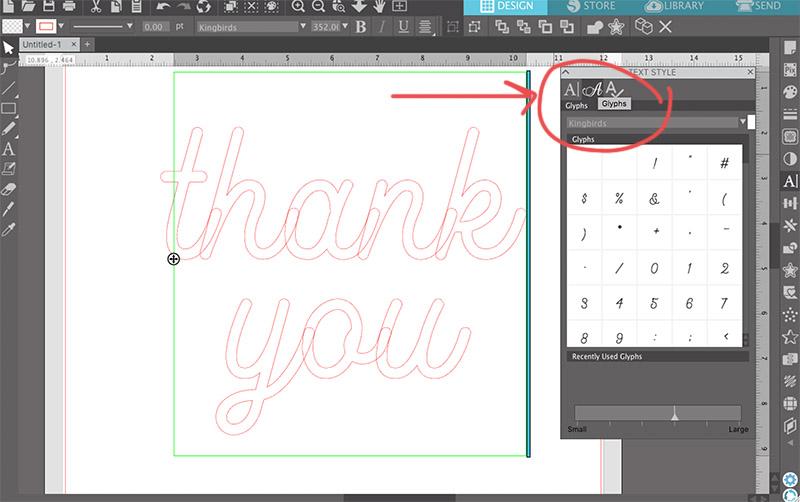 open silhouette studio glyphs panel