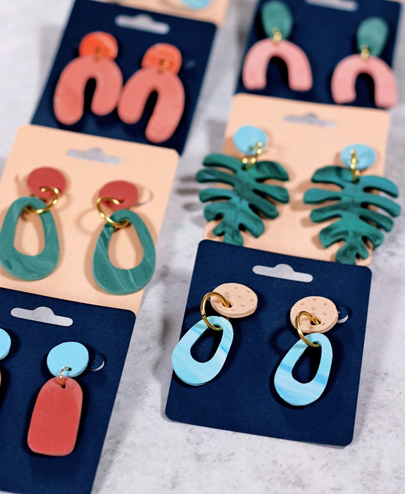 close up of finished diy clay earrings