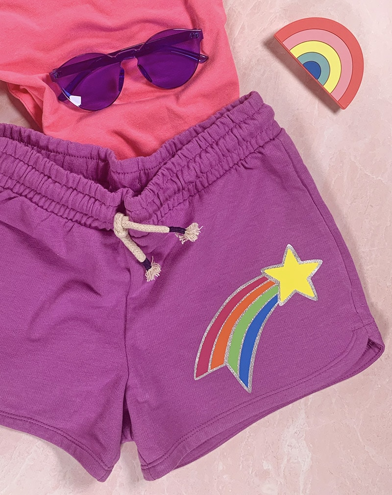 finished shooting star shorts