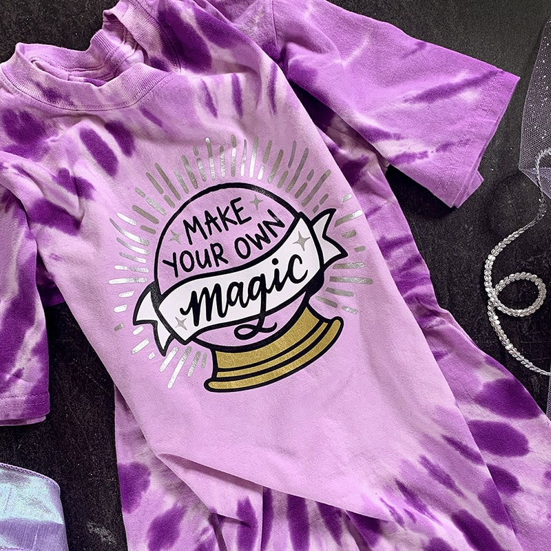 make your own magic crystal ball purple tie dye tshirt