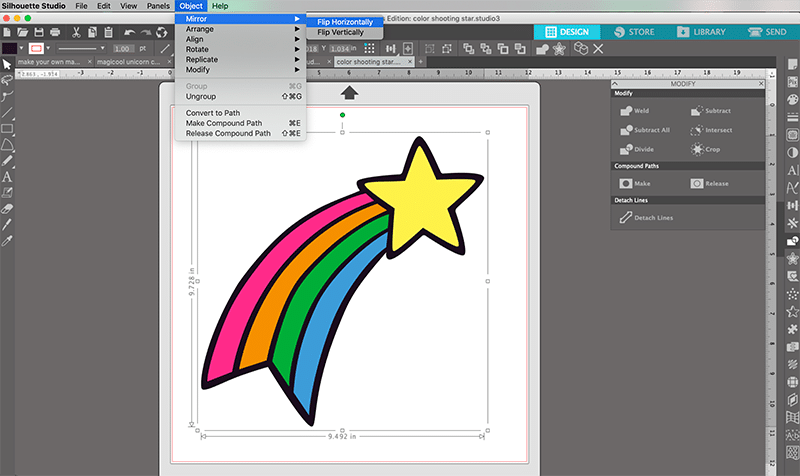 how to mirror image in silhouette studio for shooting star htv design